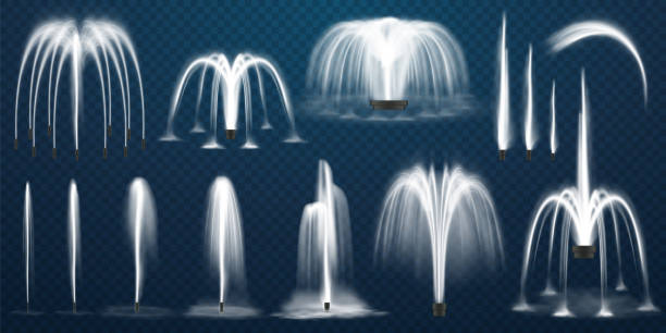 realistic set of vector fountains. water jets and white stream of 3d fountain on transparent background. park or garden aqua decoration, summer cascading liquid splash and spray. geometric curve - fontanna stock illustrations