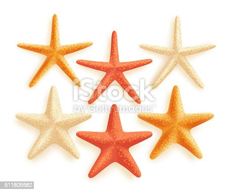 istock 3D Realistic Set of Vector Starfish with Colors for Summer 511805582