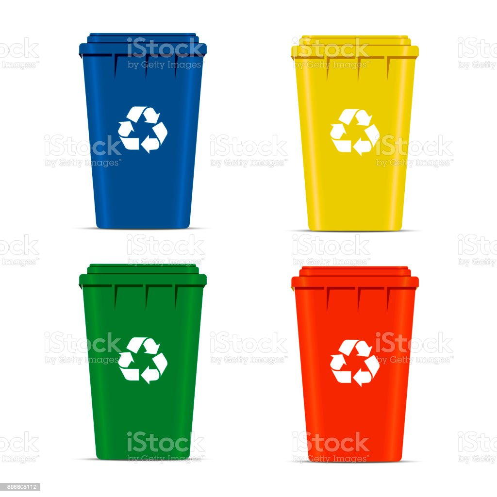 Realistic Set Recycle Bins for Trash and Garbage Isolated on White Background. Waste management concept. illustration in flat design Raster version vector art illustration