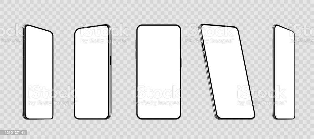 다른 각도에서 현실적인 설정 스마트 폰 모형. 빈 디스플레이가있는 휴대 전화. 휴대 전화 3D - 주식 벡터. - 로열티 프리 3차원 형태 벡터 아트