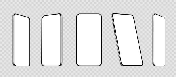 illustrazioni stock, clip art, cartoni animati e icone di tendenza di realistico set smartphone a diverse angolazioni mockup. cellulare con display vuoto. cellulare 3d - vettore di magazzino. - smart phone