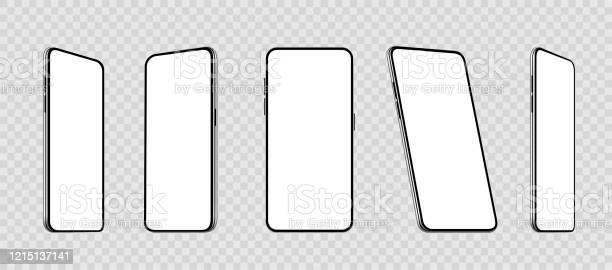 다른 각도에서 현실적인 설정 스마트 폰 모형 빈 디스플레이가있는 휴대 전화 휴대 전화 3d 주식 벡터 3차원 형태에 대한 스톡 벡터 아트 및 기타 이미지