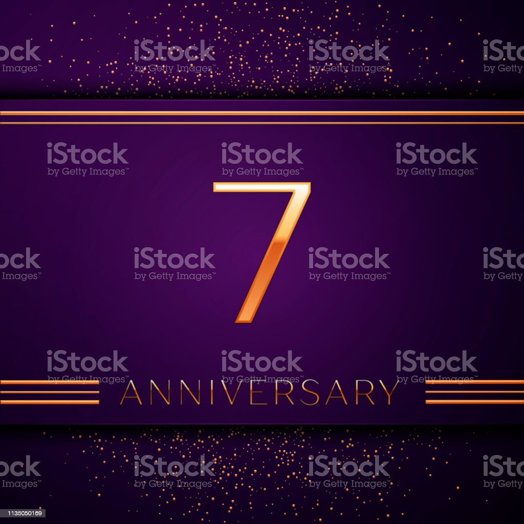 Realistic Seven Years Anniversary Celebration design banner. Golden number and confetti on purple background. Colorful Vector template elements for your birthday party vector art illustration
