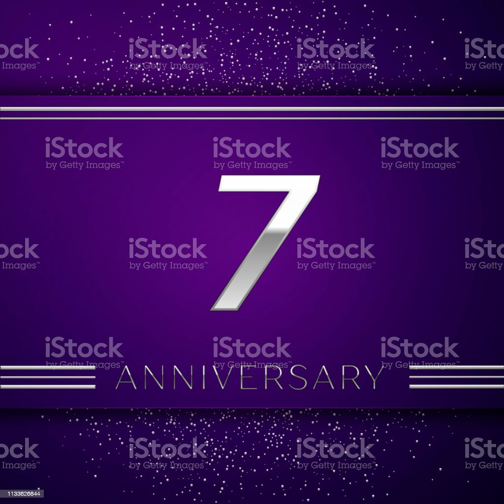 Realistic Seven Years Anniversary Celebration design banner. Silver number and confetti on purple background. Colorful Vector template elements for your birthday party vector art illustration