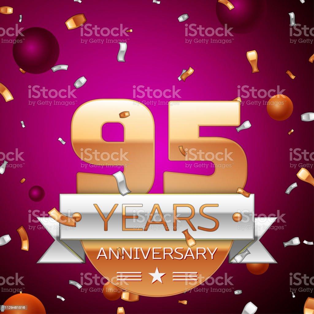 Realistische 70 71 Jahre Jubiläum Feier Einheitsklasse. Goldene Zahlen und Silberband, Konfetti auf lila Hintergrund. Bunte Vektorelemente Vorlage für deine Geburtstagsparty – Vektorgrafik