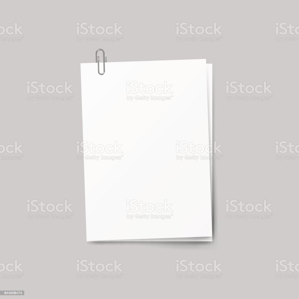 Realistic several sheets of paper and a metal paper clip isolated on background. vector art illustration
