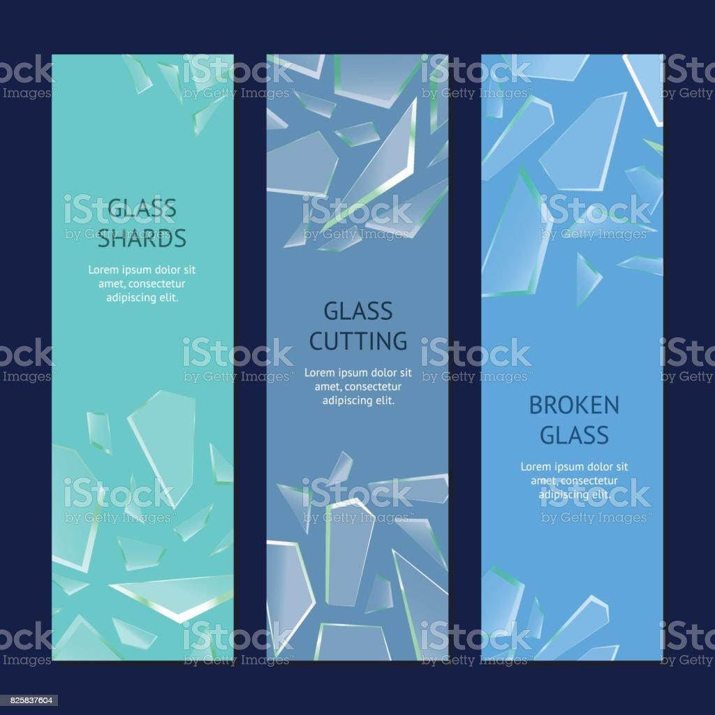 Realistic Shards of Broken Glass Banner Vecrtical Set. Vector vector art illustration