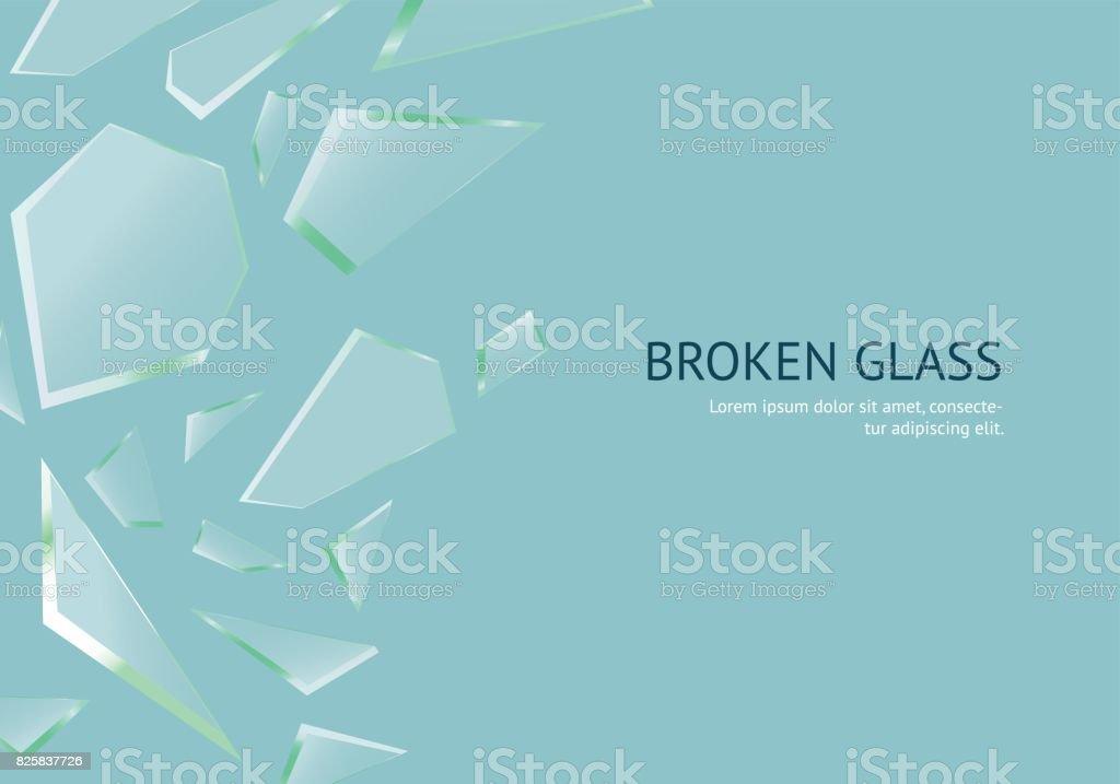 Realistic Shards of Broken Glass Concept Banner Card. Vector vector art illustration