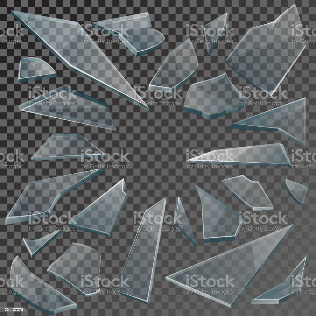 Realistic Shards Of Broken Glass With Transparency Stock ...