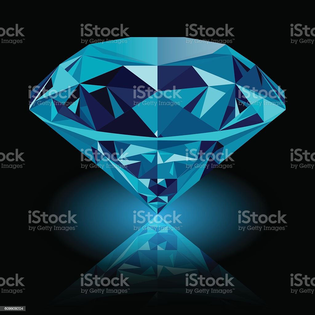 Realistic shining blue diamond jewel vector art illustration