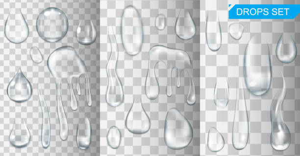 realistic shining water drops and drips on transparent background vector illustration - teardrop stock illustrations, clip art, cartoons, & icons