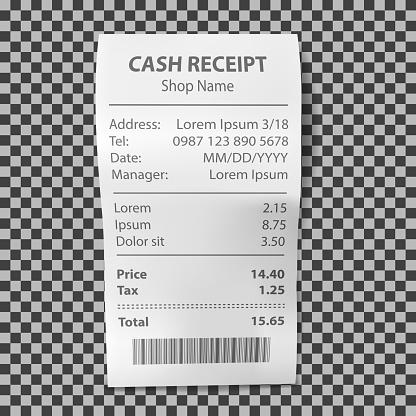 Realistische Shopbeleg Papierzahlungsrechnung Stock Vektor Art und mehr Bilder von Ausverkauf