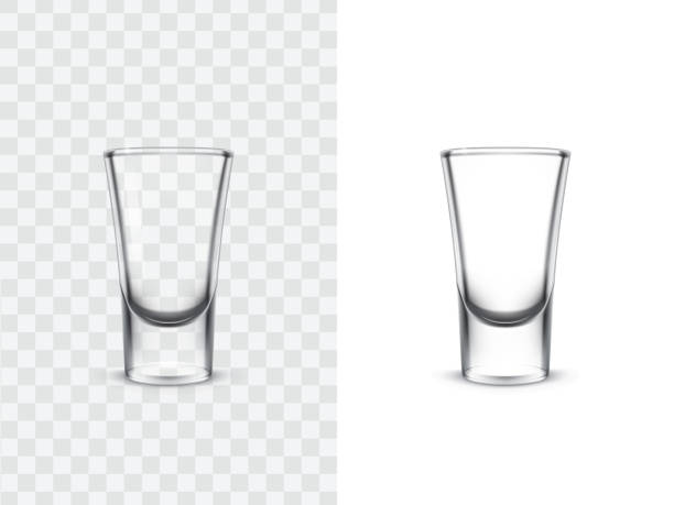 realistic shot glasses - alcohol drink silhouettes stock illustrations
