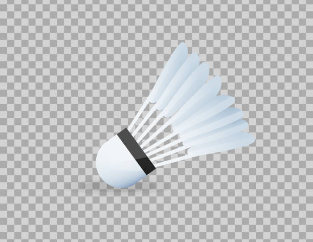 Realistic shuttlecock for big tennis, badminton, close-up. Sports equipment, competitions Realistic shuttlecock for big tennis, badminton, close-up. Sports equipment, competitions, hobbies. Standard of Olympic games, competitions, physical education, healthy lifestyle Vector illustration shuttlecock stock illustrations