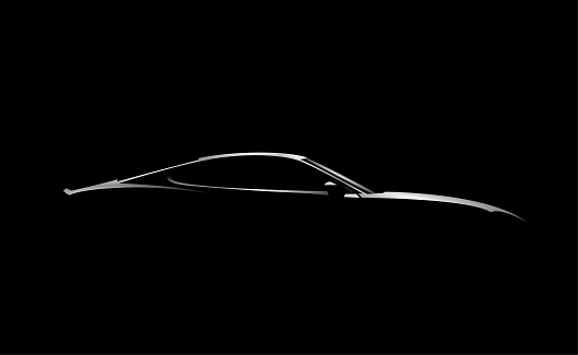 Realistic side view sport car coupe silhouette isolated on black background. Vector illustration.