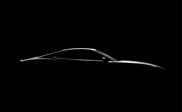 現実的なサイドビュースポーツカークーペシルエットは黒の背景に分離。ベクターの図。 - 車点のイラスト素材/クリップアート素材/マンガ素材/アイコン素材