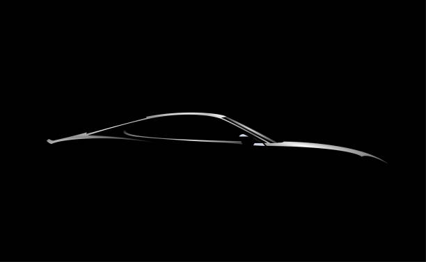 Realistic side view sport car coupe silhouette isolated on black background. Vector illustration. Realistic side view sport car coupe silhouette isolated on black background. Vector eps 10 illustration. sports car stock illustrations