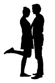 Realistic silhouette of a loved man and woman embracing, isolated on a white background - vector