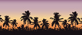 Realistic silhouette of tree tops, palm trees in tropical landscape, with morning orange-pink sky and with space for text - vector