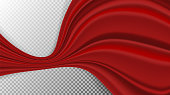 Vector realistic drapery of bright red fabric. Decorative folds of silk isolated on transparent background.