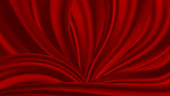 Realistic vector wave bright red material. Background of silk folds or fluid. You can change the color.