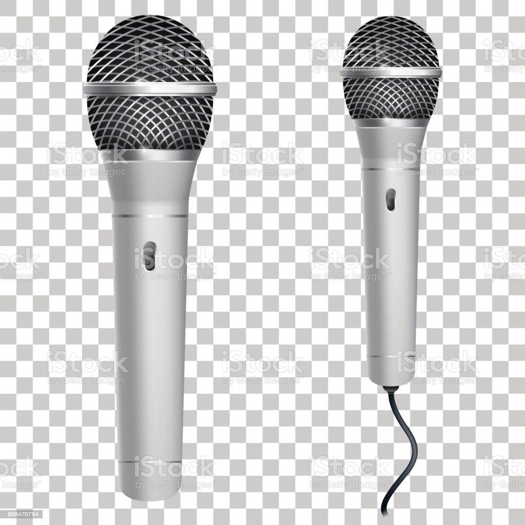 Realistische Silberne Mikrofon Auf Transparenten Hintergrund ...