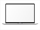 istock Realistic Silver White Notebook with Blank Screen. 16 inch Scalable Laptop computer. Can be Used for Project, Presentation. Blank Device Mock Up. Separate Groups and Layers. Easily Editable EPS Vector 1214480940