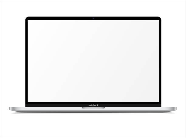 ilustrações, clipart, desenhos animados e ícones de notebook branco prateado realista com tela em branco. computador portátil escalável de 16 polegadas. pode ser usado para projeto, apresentação. dispositivo em branco simular. grupos e camadas separados. vetor eps facilmente editável - laptop
