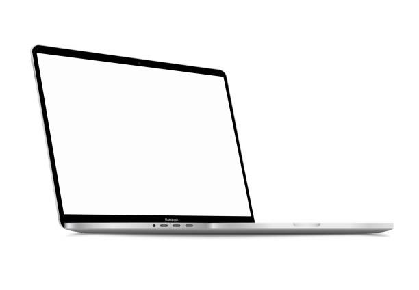 bildbanksillustrationer, clip art samt tecknat material och ikoner med realistisk silvervit bärbar dator med tom skärm. 16 tums skalbar bärbar dator. kan användas för projekt, presentation. tom enhet mock up. separata grupper och lager. enkelt redigerbar eps vector - laptop