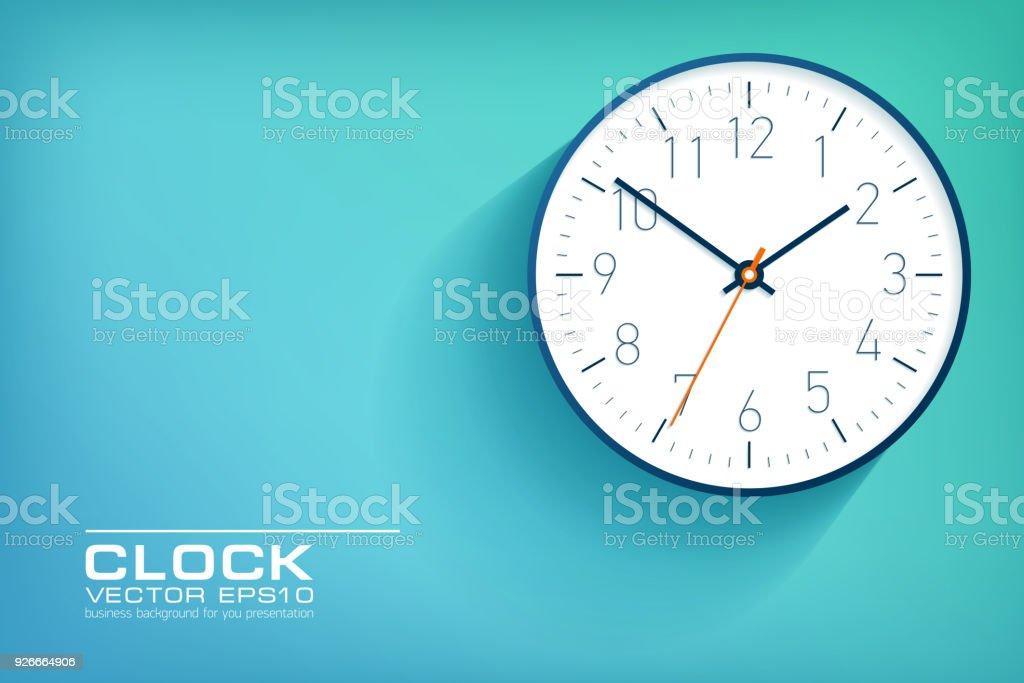 Horloge simple réaliste dans un style plat avec numéros, regarder sur fond vert et bleu. Illustration d'affaires pour vous la présentation. Objet de dessin vectoriel. - clipart vectoriel de Affaires libre de droits