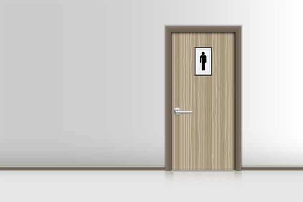 Realistic single door and interiors decorative of resting room., Indoor concept Realistic single door and interiors decorative of resting room., Indoor concept bathroom borders stock illustrations