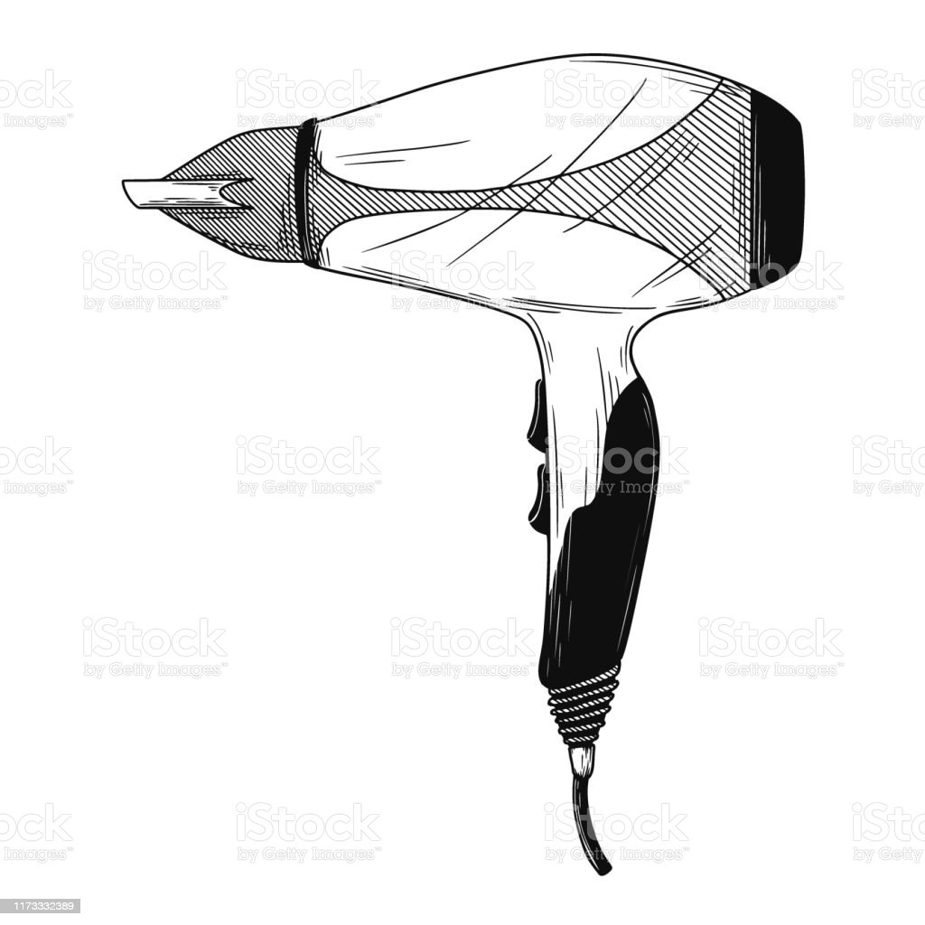 Realistic Sketch Hair Dryer Isolated On White Background Vector Stock Illustration Download Image Now Istock