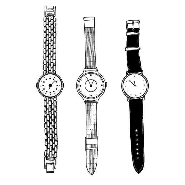 bildbanksillustrationer, clip art samt tecknat material och ikoner med realistisk skiss av en klocka. uppsättning av olika klockor. vektor - armbandsur
