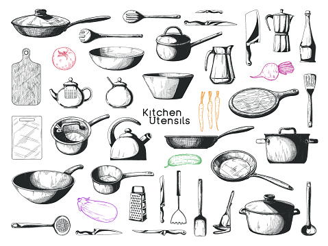Realistic sketch of tableware. Big set of dishes. Vector