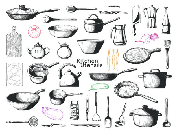 Realistic sketch of tableware. Big set of dishes. Vector Realistic sketch of tableware. Big set of dishes. Vector grater utensil stock illustrations
