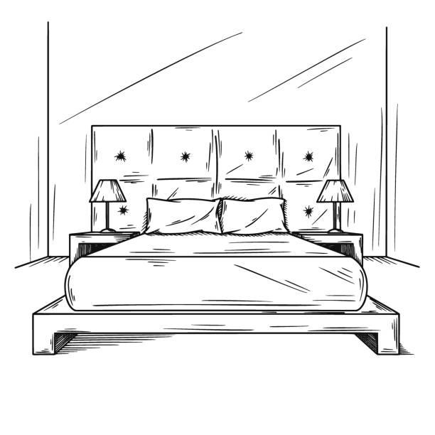 realistische skizze des schlafzimmers. handgezeichnete skizze des innenraums. vektor-illustration - bodenbetten stock-grafiken, -clipart, -cartoons und -symbole