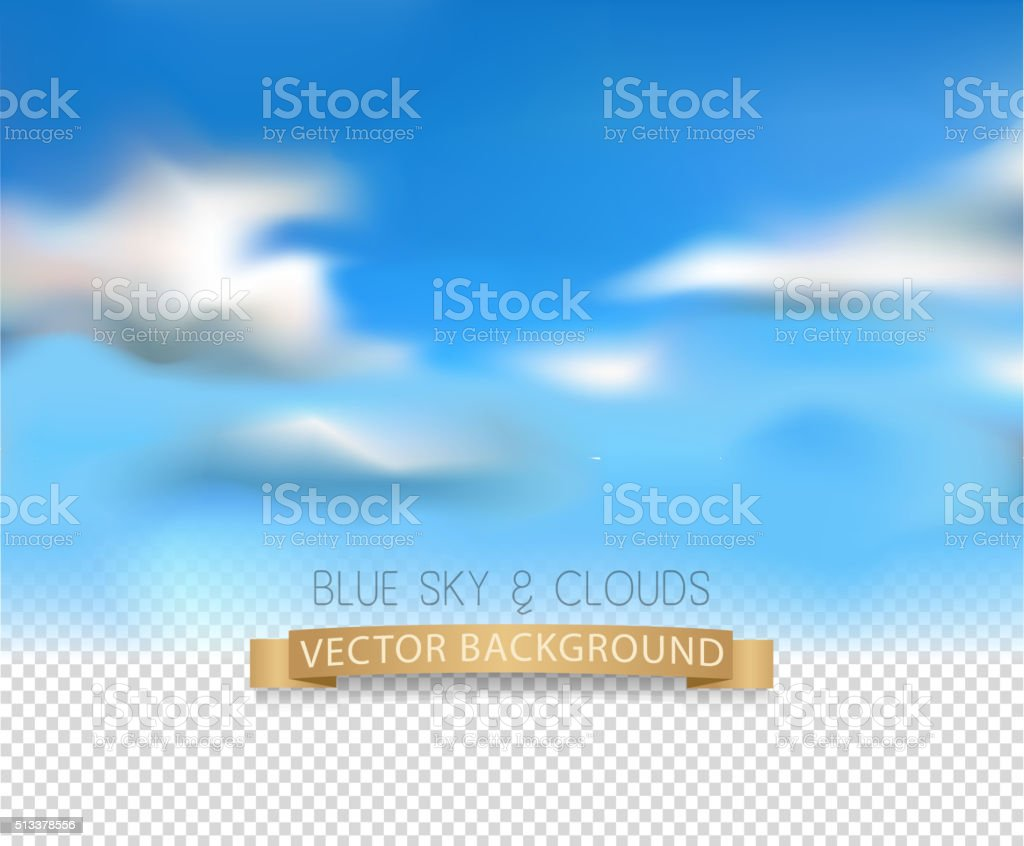 realistic sky and clouds on a transparent background vector art illustration