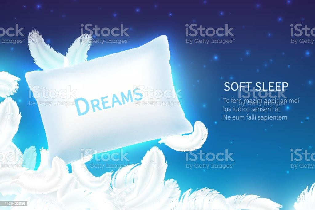 Realistic sleep concept. Soft sleep pillow with feathers, clouds and...