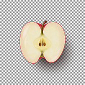 Realistic sliced apple isolated on transparent background. A half of fresh red apple. Vector illustration.