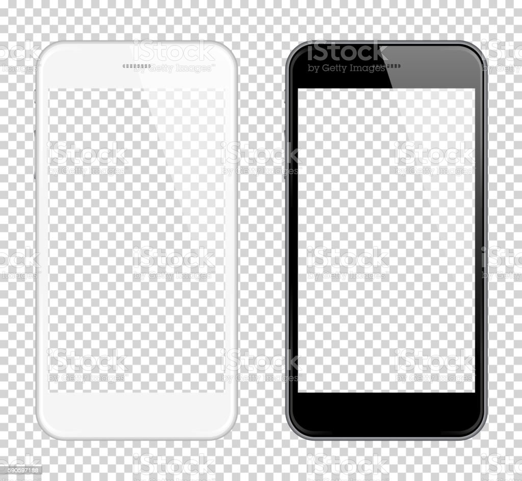 Realistic smart phone Vector Mock Up. Fully Re-size-able - ilustración de arte vectorial