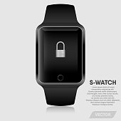 Realistic smart watch modern design., Vector, Illustration
