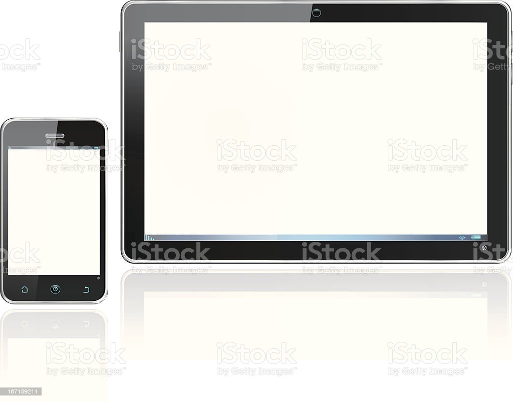 Realistic Smartphone Cellphone and Computer Tablet with Reflections royalty-free stock vector art