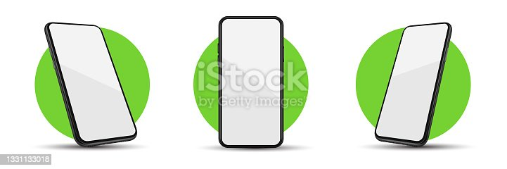 istock Realistic smartphone device mockup. Cellphone frame with blank display isolated templates, Phone different angles or views. Black vector mobile phone concept 1331133018