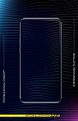 Realistic smartphone in a vertical format with a transparent screen and a colored background. Phone template for demonstrating mobile applications and web banners