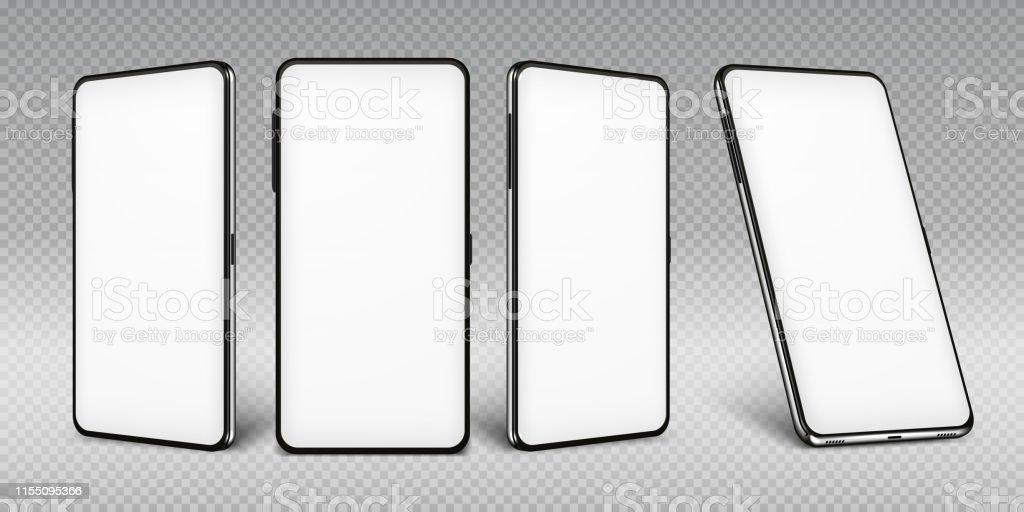 Realistisches Smartphone mockert. Handy-Rahmen mit leeren Displays isolierte Vorlagen, Telefon verschiedene Ansichten. Vector mobiles Gerät - Lizenzfrei Ausrüstung und Geräte Vektorgrafik