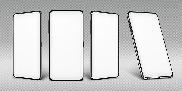 Realistic smartphone mockup. Cellphone frame with blank display isolated templates, phone different views. Vector mobile device