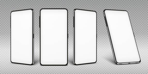 illustrazioni stock, clip art, cartoni animati e icone di tendenza di mockup realistico dello smartphone. cornice del cellulare con modelli isolati di visualizzazione vuoti, visualizzazioni diverse del telefono. dispositivo mobile vettoriale - smart phone