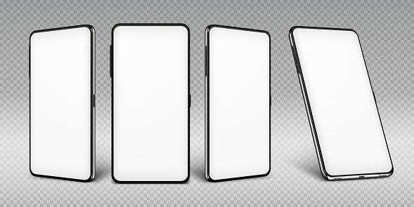 Realistisches Smartphone Mockert Handyrahmen Mit Leeren Displays Isolierte Vorlagen Telefon Verschiedene Ansichten Vector Mobiles Gerät Stock Vektor Art und mehr Bilder von Ausrüstung und Geräte