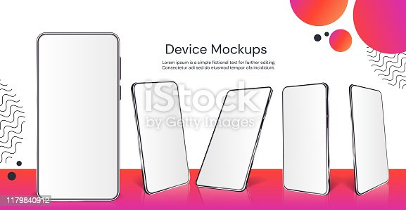 Realistic smartphone mockup. Cellphone with blank display isolated templates, different angles views. Vector illustration