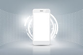 Realistic smartphone mockup with futuristic technology concept, mobile phone abstract background, vector illustration